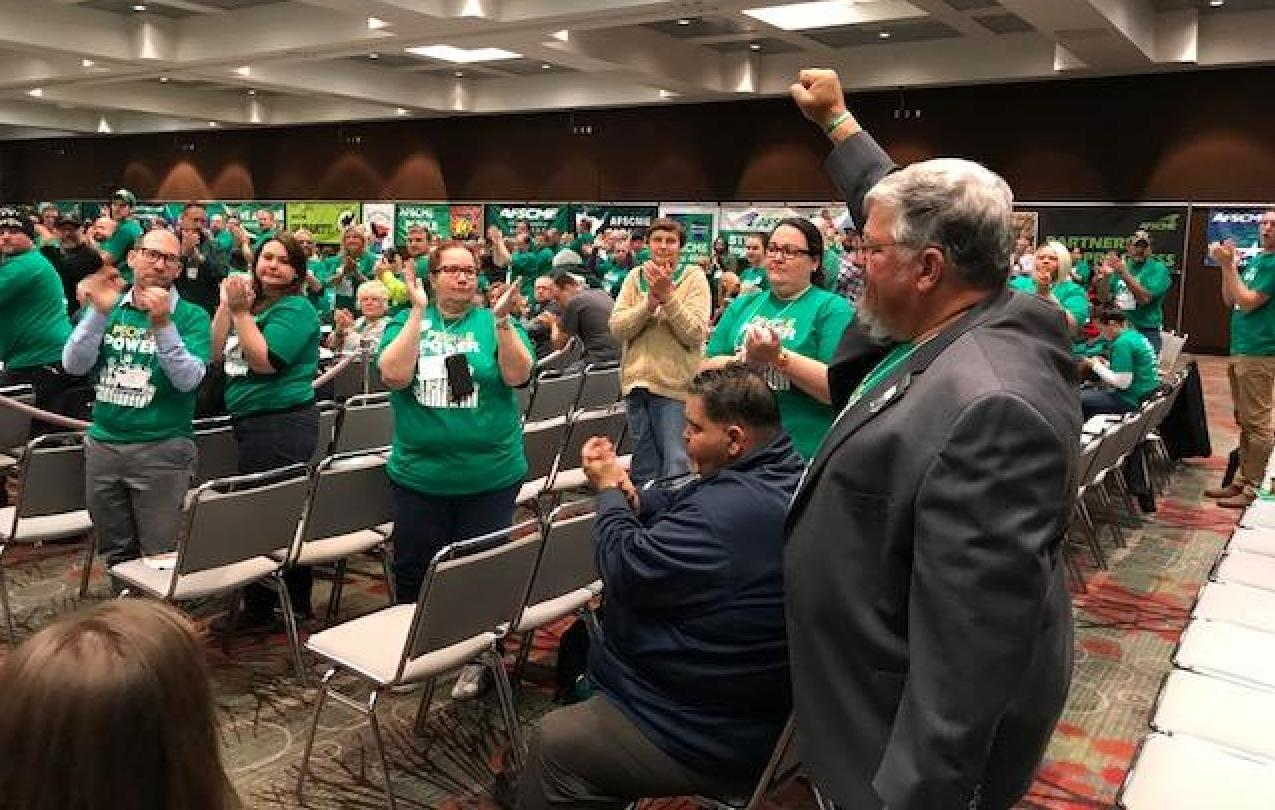 AFSCME members give Council 61 president Danny Homan a standing ovation after he shares his powerful and motivating story about how GOP lawmakers are trying to destroy public sector unions in Iowa.