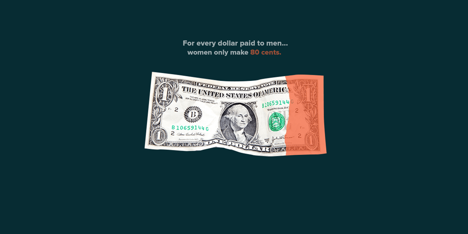 Dollar bill with part colored out